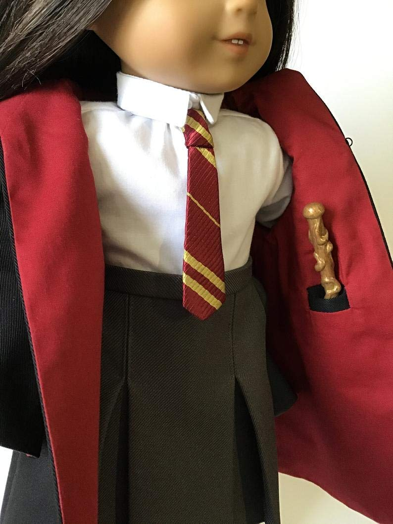 "Doll Wizard School Uniform Outfit Robe Cloak Wand for American Girl Doll 18/"" Dolls Handmade RED"