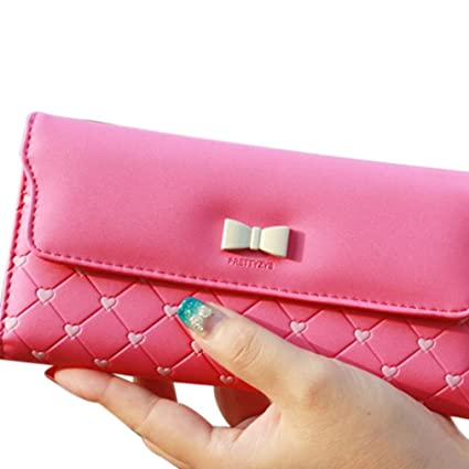 Gbsell Women Girl Fashion Bow Love Long Clamshell Purse Wallet Clutch (Hot Pink) by Gbsell