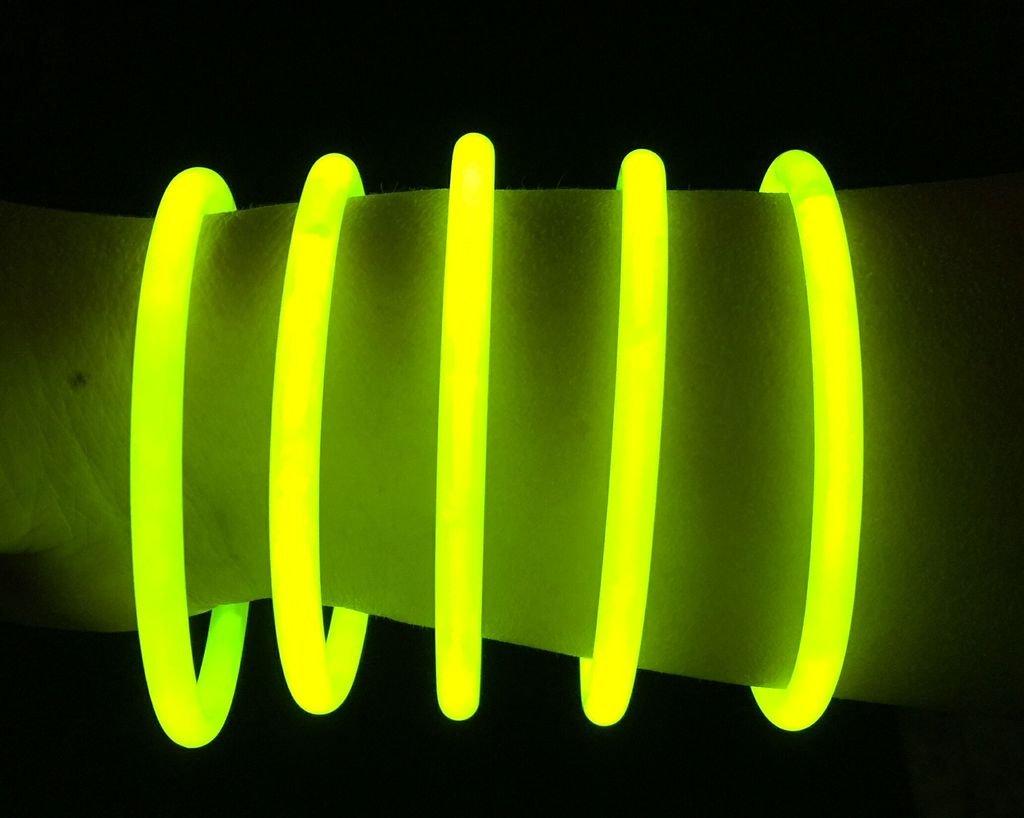 "Glow Sticks Bulk Wholesale Bracelets, 100 8"" Yellow Glow Stick Glow Bracelets, Bright Color, Glow 8-12 Hrs, 100 Connectors Included, Glow Party Favors Supplies, Sturdy Packaging, GlowWithUs Brand"