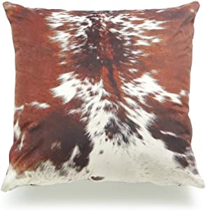 "Hofdeco Decorative Throw Pillow Cover Premium Short Plush Fall Decor Tri Color Brown Southwestern Cowhide Print 18""x18"" 45cm x 45cm"