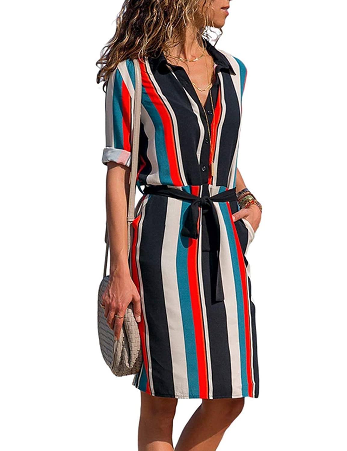 35d5db3a Material:95%Polyester + 5%Spandex,Soft and stretchy fabric, cool and  comfortable to wear. Women's Elegant Color Block Stripe Print Long Sleeve Wear  to Work ...
