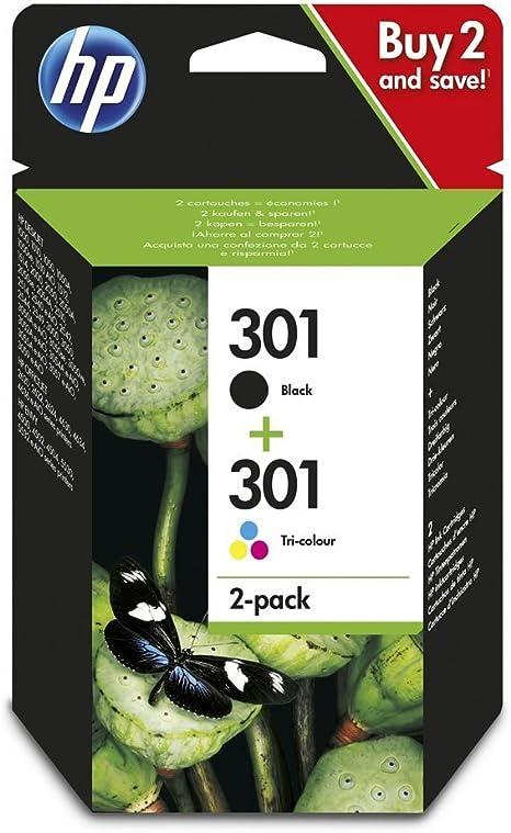 HP 301 - Pack de 2 cartuchos de tinta, color y negro: Amazon.es ...