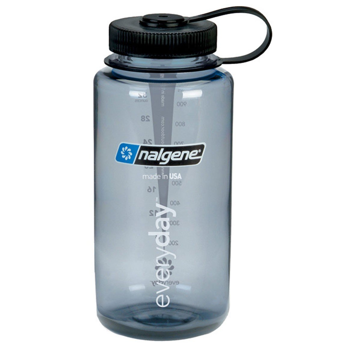 Nalgene Tritan Wide Mouth BPA-Free Water Bottle, 32 Oz, Grey w Black