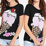 Fashion Womens T-shirt Girls Love Short Sleeve Sequins Ice Cream Tee O-Neck Tops