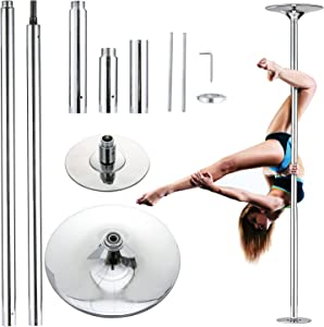 UMEKEN Stripper Pole Spinning Static Dance Pole Portable Removable Adjustable 45mm Dancing Pole for Home Exercise Club Party Pub, Dancer Pole for Beginners and Professionals 440lb Weight Capacity