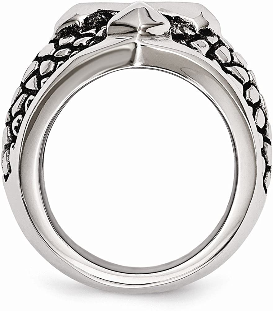 Stainless Steel Mens Ring Band Polished Antiqued Antiqued Cross Caviar Ring