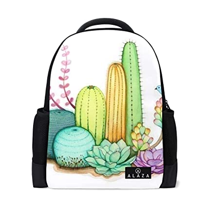 52dfc38f488c Amazon.com: Backpack Watercolor Cactus Funny Womens Laptop Backpacks ...