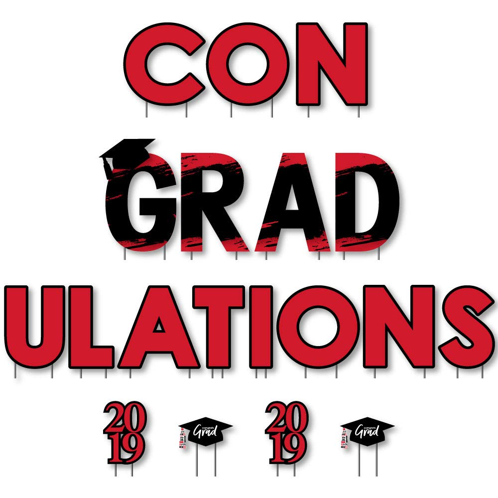 Red Grad - Best is Yet to Come - Yard Sign Outdoor Lawn Decorations - Red 2019 Graduation Party Yard Signs - ConGRADulations