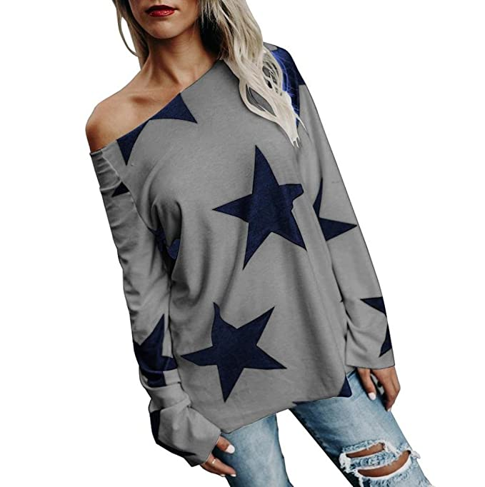 Sannysis - ropa femenina chaqueta top sudaderas manga farol sin tirantes impresión en estrella suelto sueter