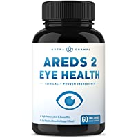 Eye Vitamins with Lutein and Zeaxanthin - AREDS 2 Formula for Macular Degeneration, Strain, Dry Eyes & Vision Support - AREDS2 Eye Health Ocular Care Supplement with Omega 3 Powder & Bilberry Extract