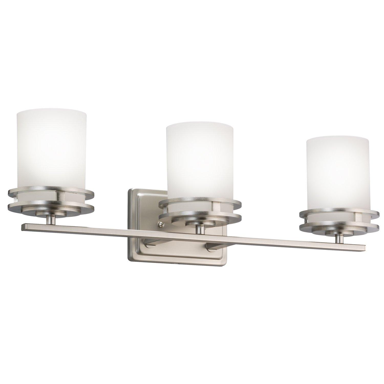 Kichler 5078NI, Hendrik Reversible Glass Wall Vanity Lighting, 3 Light, 300 Watts, Brushed Nickel