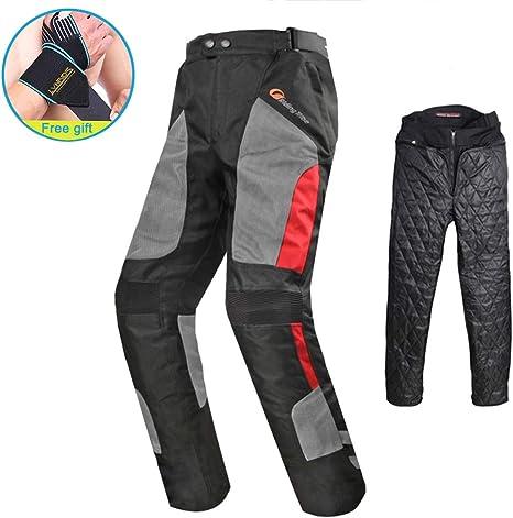 Protezioni e larghezza regolabile Pantaloni neri Da Motociclista Con Fodera Termica Removibile per estate e inverno