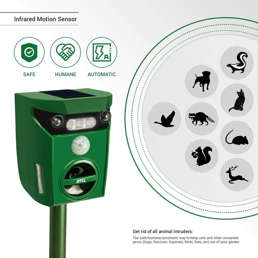 Ultrasonic Pest and Animal Repeller, Solar Powered Waterproof Outdoor Animal Repeller with Ultrasonic sound and Flashing Light, Activated by motion - Very Effective for Cats, Dogs, Squirrels, Moles,
