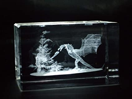 Amazon com: Crystal Images Dragon Killer Laser Paperweight 3
