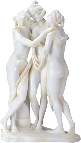 YTC 17.25 Inch Cream Toned Cold Cast Resin Three Graces Statue