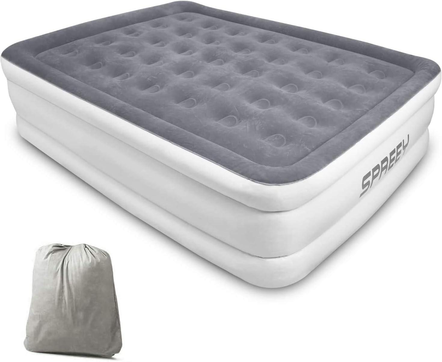 Spey - Colchón hinchable para 2 personas, cama hinchable de 2 plazas, bomba eléctrica integrada, capa de flocado suave y cómoda con bolsa de almacenamiento