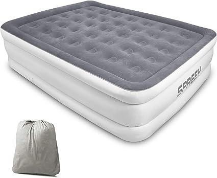 Spey - Colchón hinchable para 2 personas, cama hinchable de 2 plazas, bomba eléctrica integrada, capa de flocado suave y cómoda con bolsa de ...