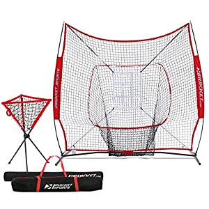 Rukket Baseball/Softball 7x7 Net, Pitching & Batting Trainer w/Ball Caddy | Practice Partner with Strike Zone Target