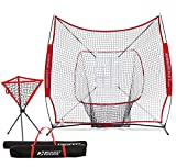 Rukket Baseball / Softball 7x7 Net, Pitching & Batting Trainer w/ Ball Caddy | Practice Partner with Strike Zone Target