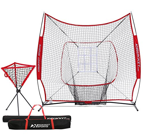 Rukket Baseball / Softball 7x7 Net, Pitching & Batting Trainer w/ Ball Caddy | Practice Partner with Strike Zone Target by Rukket Sports
