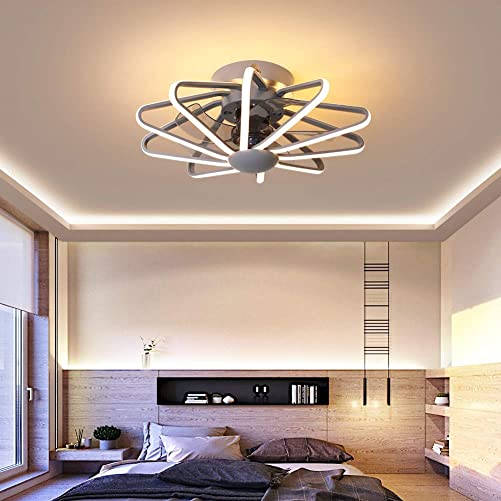 Flush Mount Ceiling Fan with Light, Remote Control with 3-Speed Wind and 3-Color Lighting 22 Modern Fandelier for Low Profile Ceiling Room,Gray