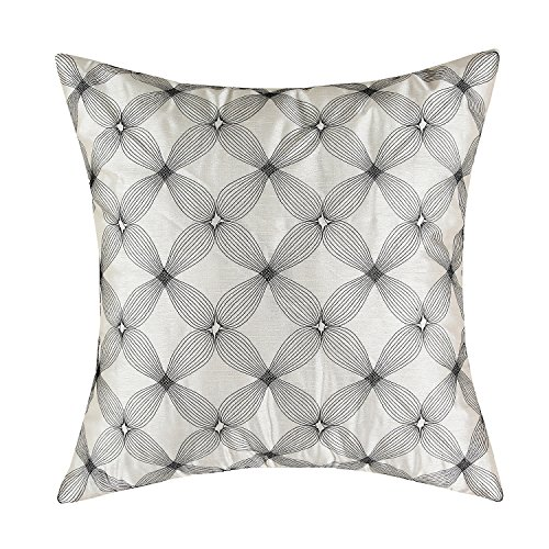 Euphoria CaliTime Cushion Cover Throw Pillow Case Shell 18 X 18 Inches, Beige Ground Black Waves Diamonds Chain Embroidered