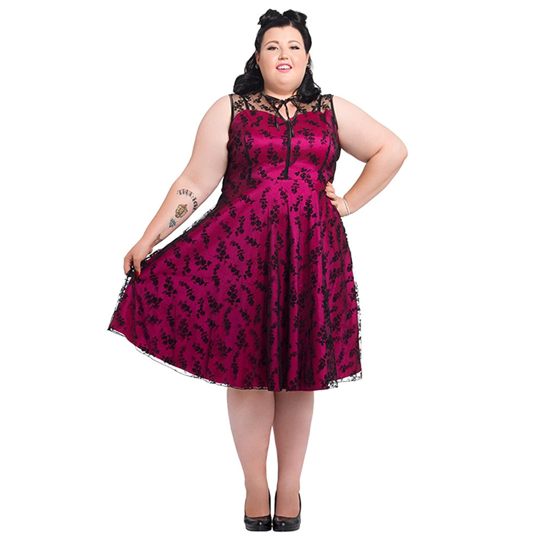 Voodoo Vixen Hattie Net Flowers Kleid Plus Size (Pink)