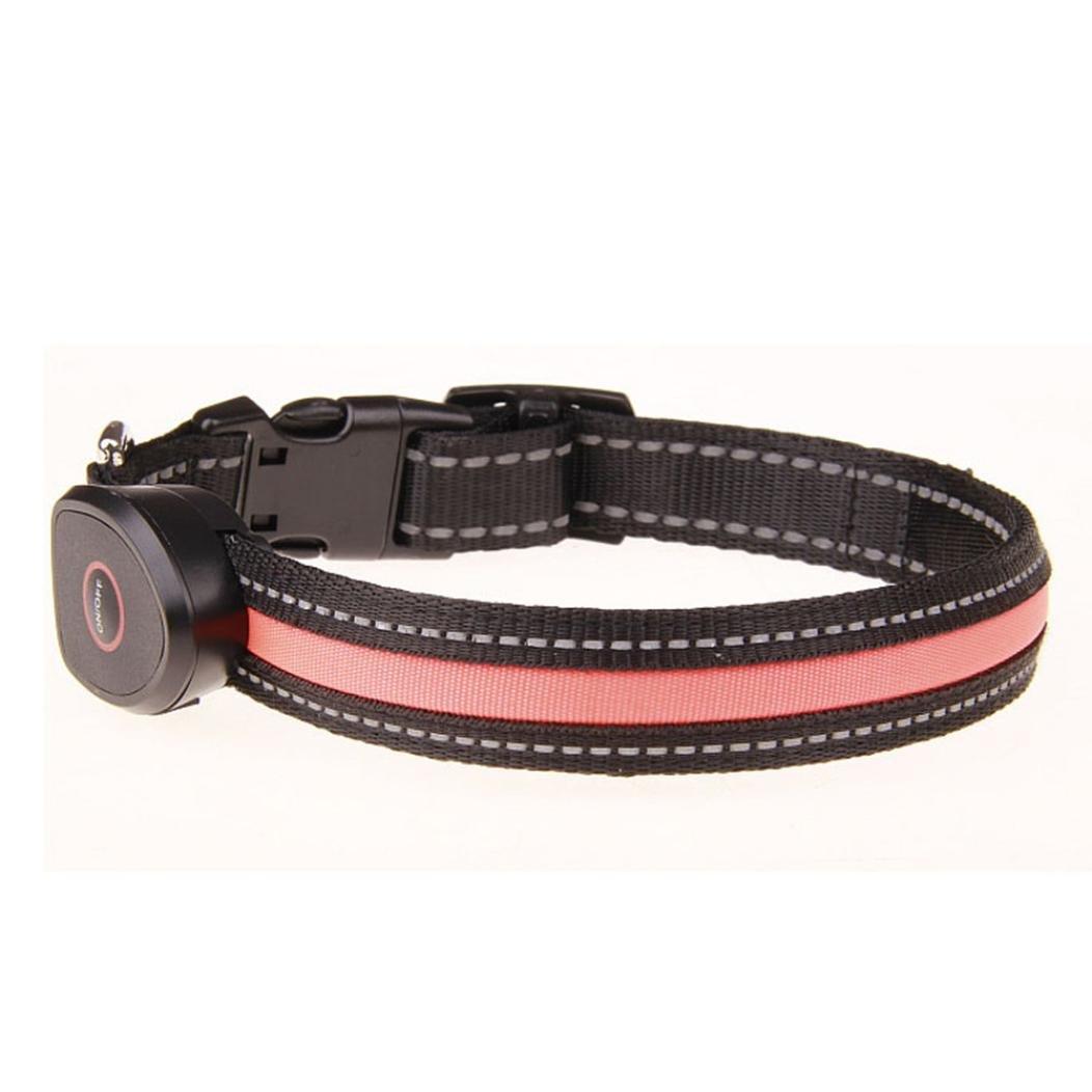 "Liping LED Night Light Adjustable Chargeable Light Pet Dog Safety Polyester USB Collar Flashing Glow Pet Collar Night Walks (Orange, M(13""-20""))"