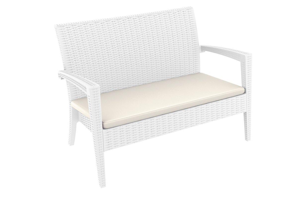 CLP 2er Rattan Garten Lounge-Sofa MIAMI, ca. 130 x 80 cm, Vollkunststoff in Rattan-Optik, mit Sitzkissen, Farbwahl weiß