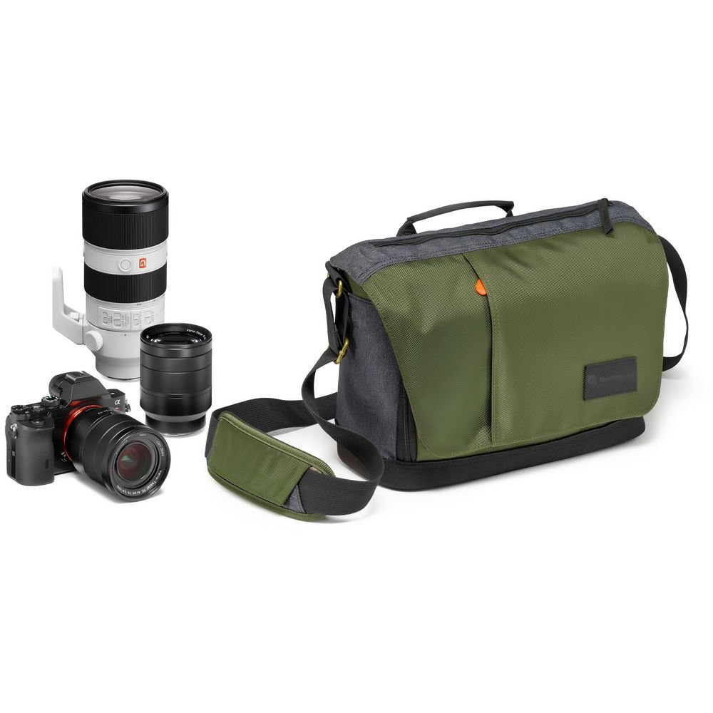 Manfrotto MB MS-M-GR Lightweight Street Camera Messenger Bag for CSC/DSLR, Green & Grey by Manfrotto