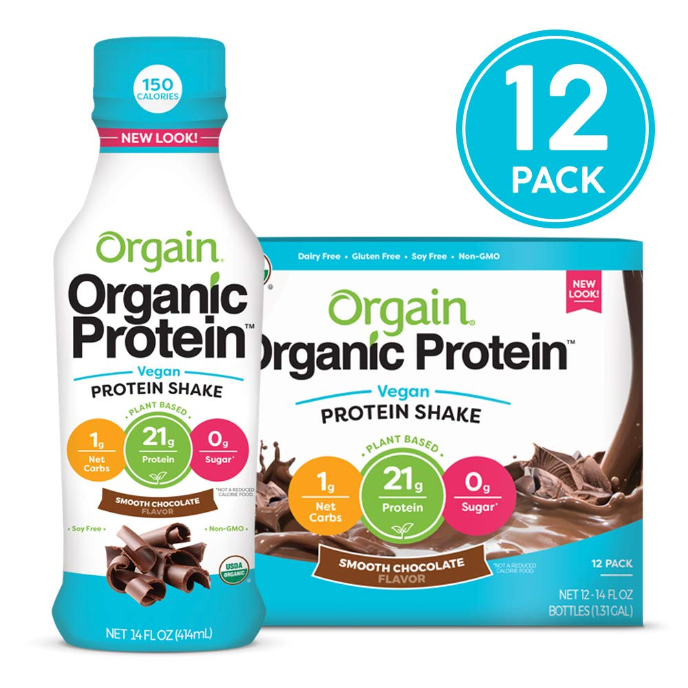 Orgain Organic 21g Vegan Plant Based Protein Shake, Smooth Chocolate - Meal Replacement, Ready to Drink, Non Dairy, Gluten Free, Lactose Free, Soy Free, Kosher, Non-GMO, 14 Ounce, 12 Count by Orgain