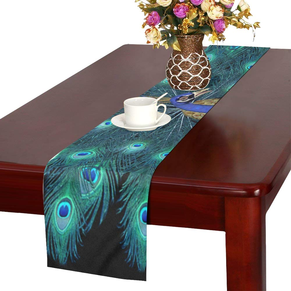 Jnseff Peacock Bird Peacock Feathers Colored Crown Table Runner, Kitchen Dining Table Runner 16 X 72 Inch For Dinner Parties, Events, Decor