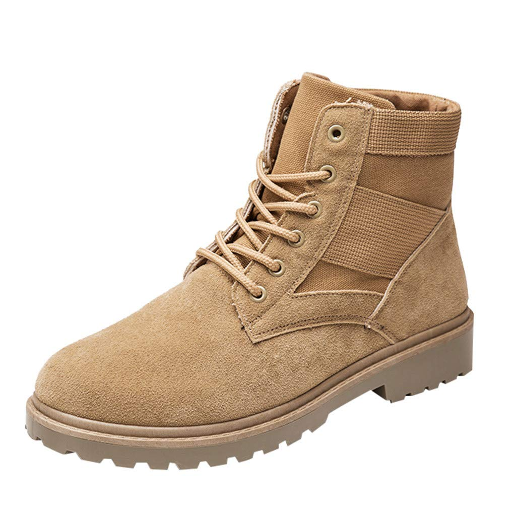 Men Chukka Boot Casual Leather High-Top Outdoor Suede Ankle Walking Shoes (US:7, Khaki)