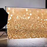 Focussexy 7x5ft Vinyl Gold Sequin Bokeh Glitter Photo Backdrop, Wedding Photo Booth Props, Photography Background, Birthday Party Ceremony Background, Studio Props Backdrop,2.1x1.5m