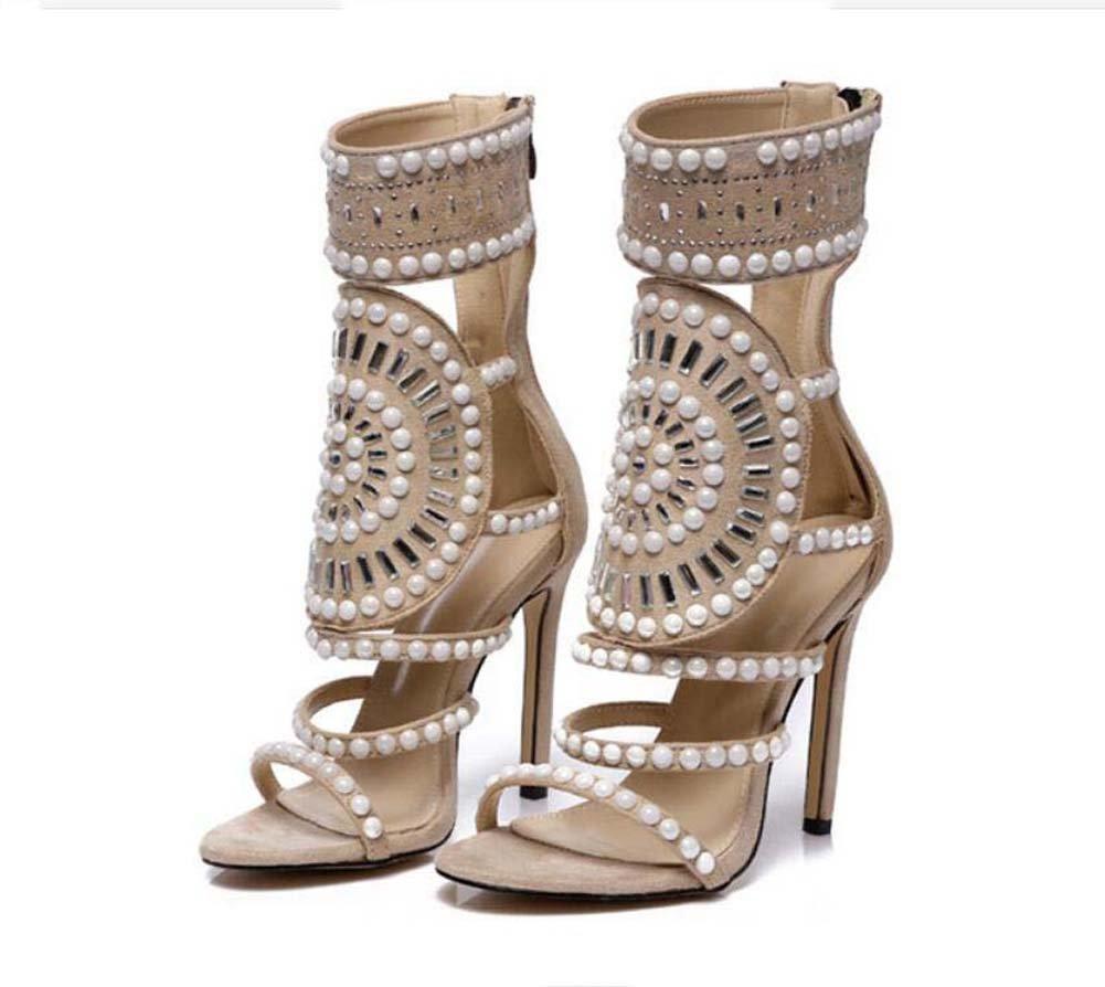 Large Size Women Pump Shoes 10.5cm Stiletto Ankle Boots Dress Shoes Open Toe Hollow Rhinestone Pearl Zipper OL Court Shoes Roma Shoes Party Shoes Eu Size 34-43 B07D9BVKJ2 42|Beige