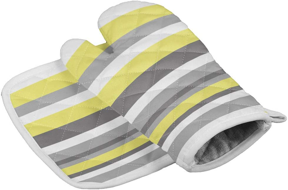 Oven Mitts and Potholders Insulated Kitchen Glove with Heat Resistant Square Pad, Yellow and Grey Striped Pattern, Cooking Gloves for BBQ/Picnic/Home/Outdoor Use