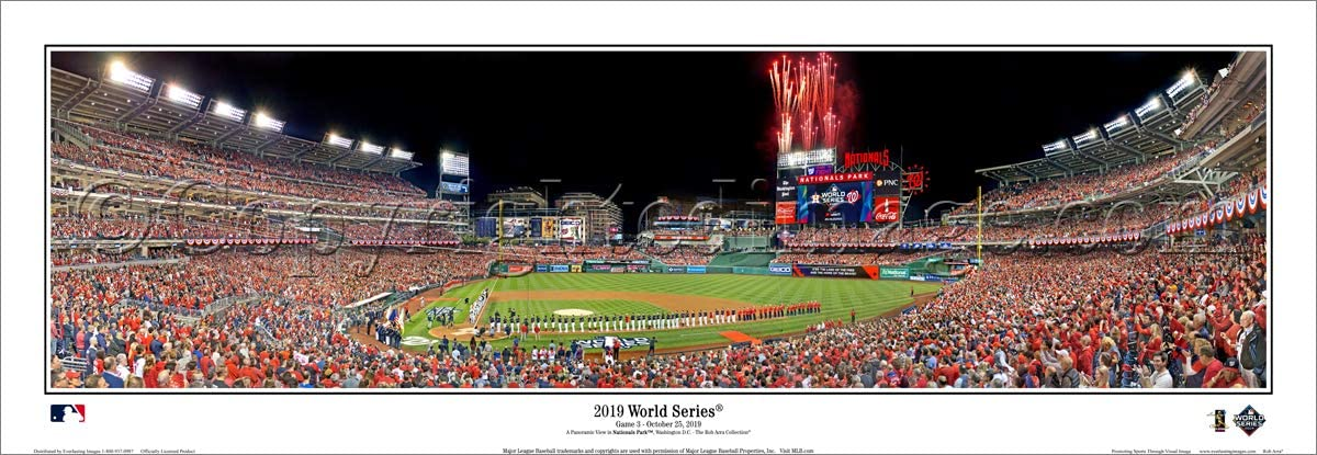 SportPicturesOnline Washington Nationals 2019 World Series Game Three Opening Ceremony Panoramic Poster 2131