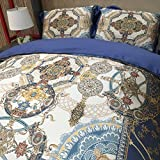 Auvoau New Bohemian Bedding Set Boho Bedding 4Pcs Boho Duvet Cover Set National Wind Bedding Bohemian Style Duvet Cover Set (King, 1)