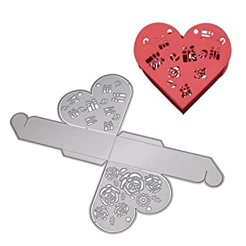 Huhuswwbin - Plantilla de corte hueca en forma de corazón para regalo de Navidad, caja