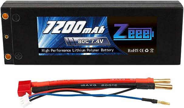 Zeee RC Batterie Lipo 7200mAh 2S 7.4V 80C Prise Deans pour