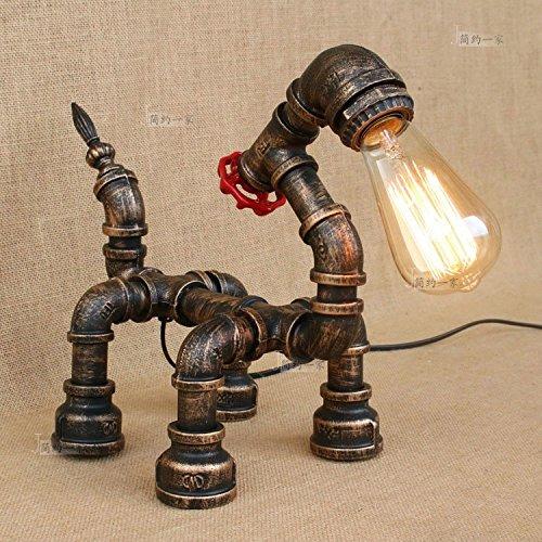 Modeen Amerikanisches Dorf-industrielle Revolution Retro- Wasser-Rohr-Art-Schreibtisch-Tabellen-Lampen-Licht-Haus-dekorativer MeGrößentike-kreativer Tier-Welpe, der Tabellen-Licht modelliert