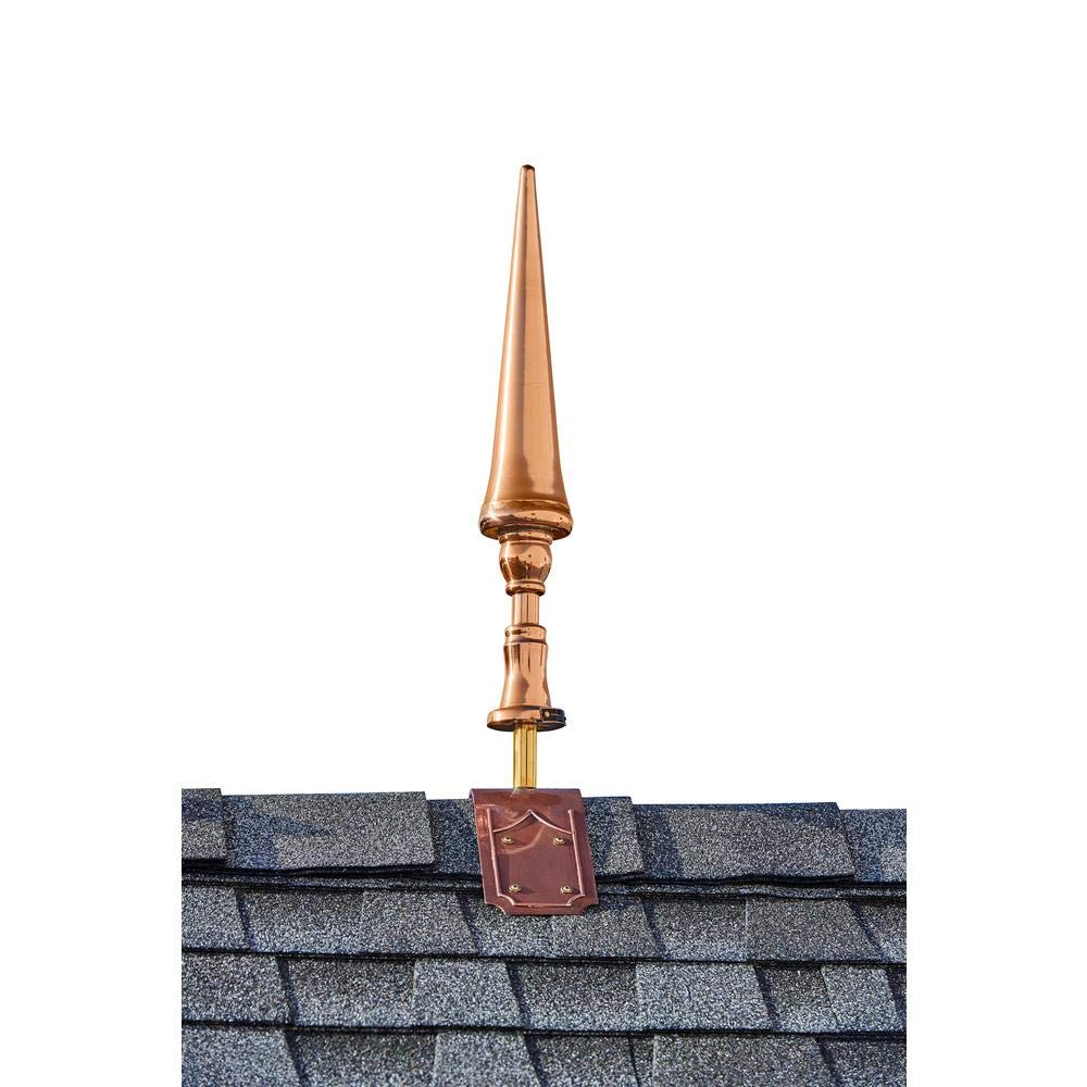 Good Directions 24'' Handcrafted Pure Copper Fleur-De-Lis Finial with Decorative Roof Mount