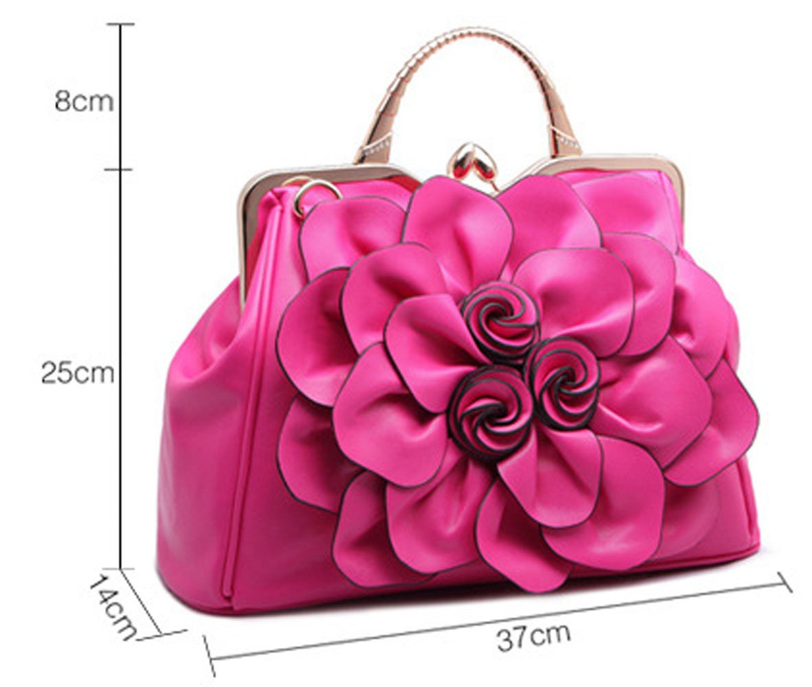 Zzfab Big Flower Purse with Clasp Fushia