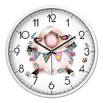 Pengei Reloj De Pared Reloj De Cocina Dibujos Animados Oveja Muda, Marco Blanco De 12 Pulgadas: Amazon.es: Hogar