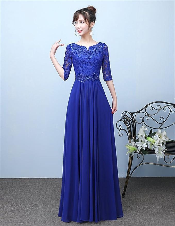 Drasawee Womens Middle Sleeve Lace Chiffon Prom Wedding Evening Dresses Elegant V-Neck Long Formal Party Gowns Blue UK22: Amazon.co.uk: Clothing