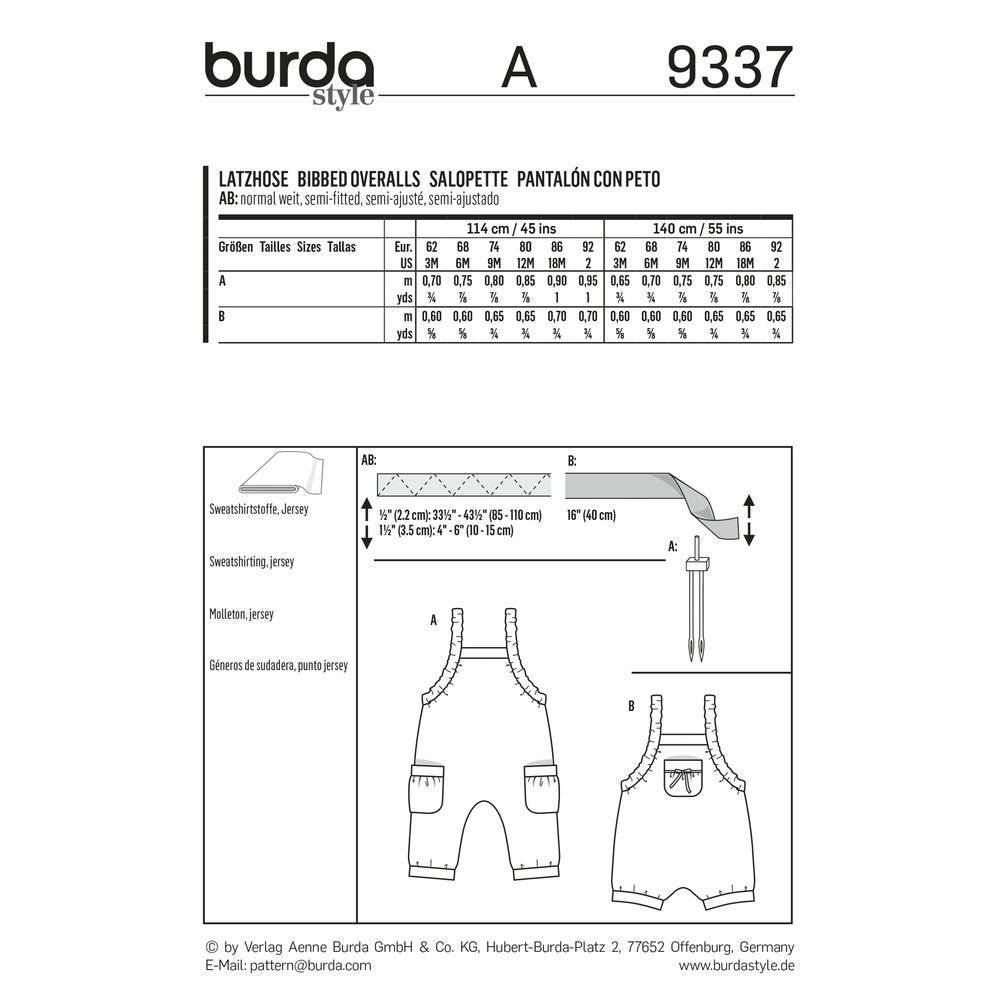 Amazon.com: Burda Style Sewing Pattern B9337 - Babys Bibbed Trousers, A(3M-6M-12M-18M-2): Arts, Crafts & Sewing