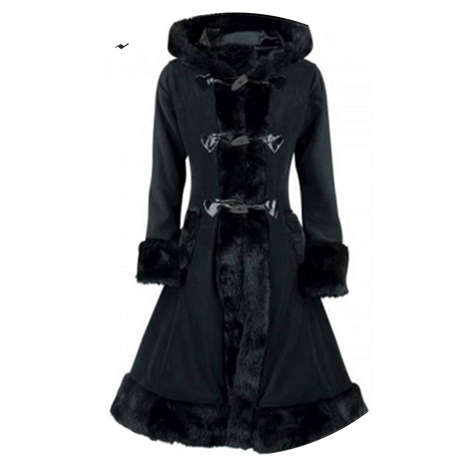 Coat Black Flocking Women Winter Overcoat Hooded Vintage Slim Goth Trench Retro Outwear Tops Gothics Coats Heated-Night