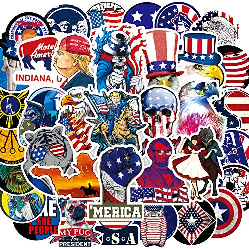 United States American USA Stickers[100PCS] - US Union Funny Trump Merica Patriotic Sticker for Laptop Water Bottle iPad Phone Room Luggage Bumper Car, 4th of July Independence Celebration Decoration