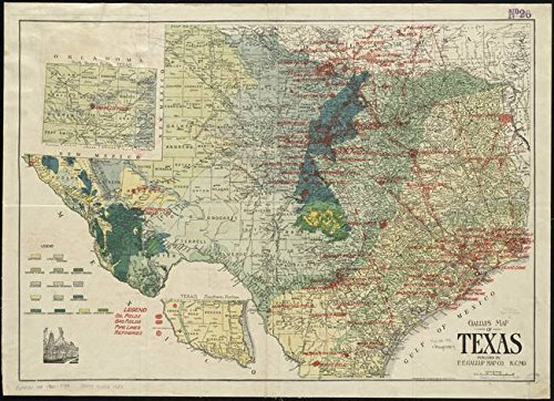 Oil Gas Map (Wall Art Print entitled Vintage Map Of The Texas Oil And Gas Fields (1920) by Alleycatshirts @Zazzle | 22 x 16)