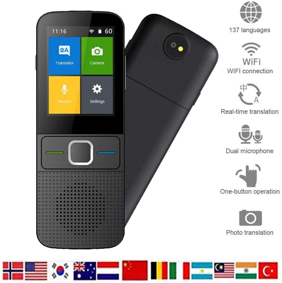 Language Translator Device with Voice 137 Language Smart Translation Pocket Device 2.4 Inch Touch Screen Translator for Business Travelling Learning WiFi//Hotspot//Offline//Camera Instant Translators